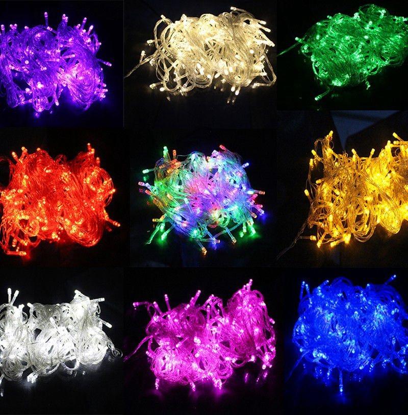 20m 9 krāsu AC110 / 220V noveda string gaismas 200 ledus kāzu svinības Ziemassvētku eglītes apdares gaismas, vadīja Ziemassvētku gaismu