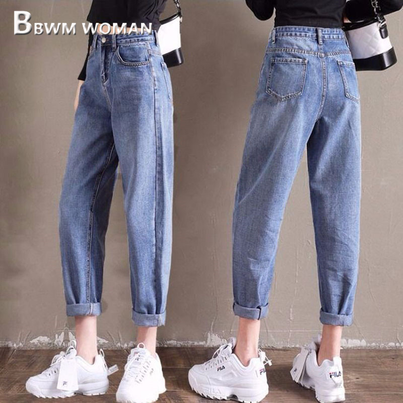 2019 High Waist Fashion Daddy Jeans Casual Slim Harem Pants Trousers
