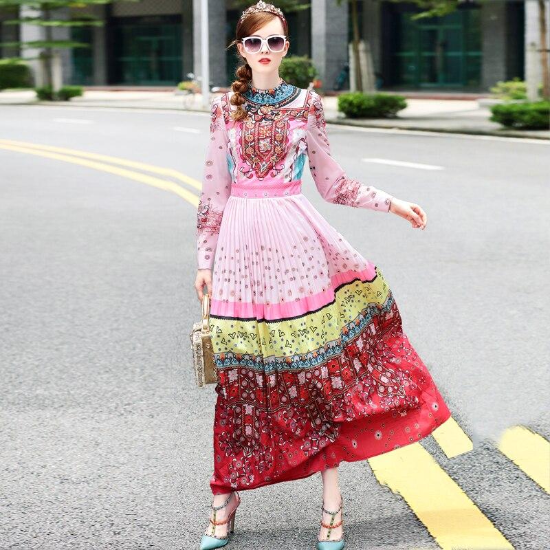 S-3XL haute qualité printemps 2018 piste nouvelles femmes plissée de luxe perlé à la main mode rétro impression robe à manches longues - 3