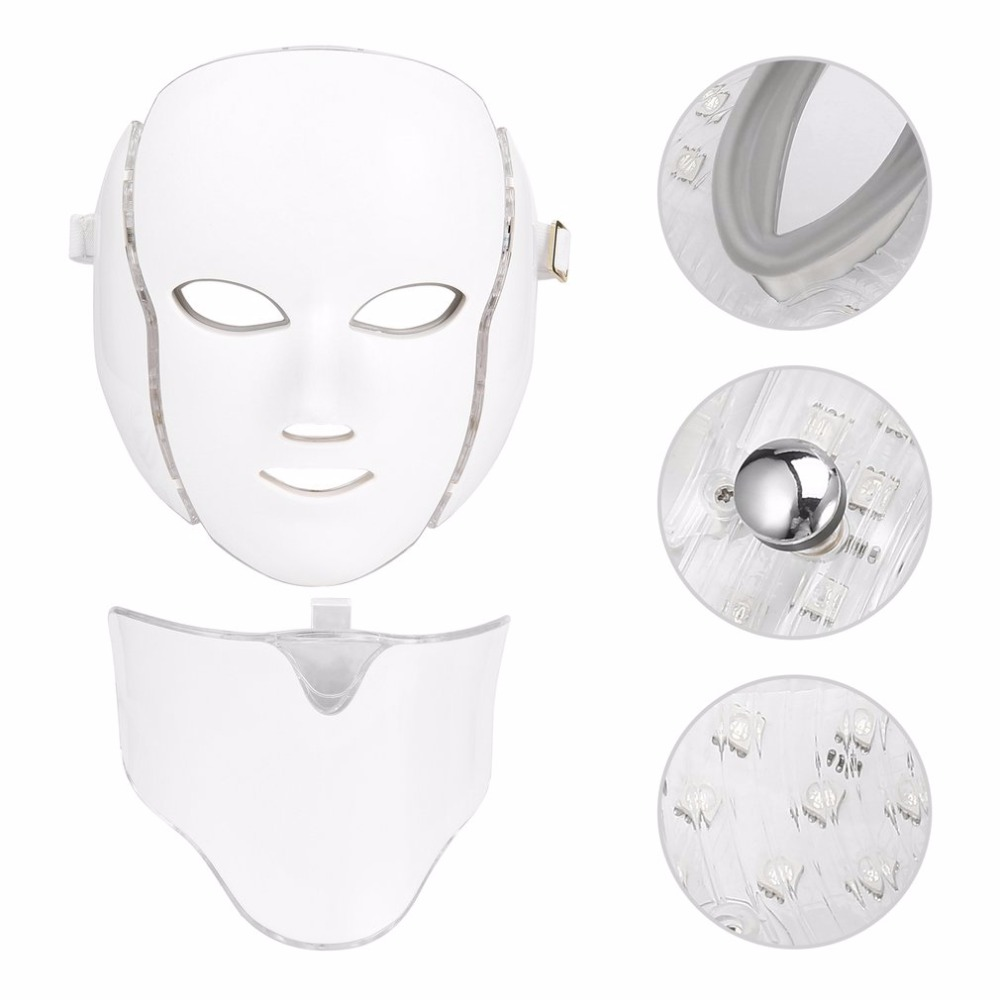 Whitening Massager LED 7 Colors Light Microcurrent Facial Mask Machine Photon Therapy Skin Rejuvenation Facial Neck Mask bio wave red blue yellow green led photon light skin therapy whitening tightening acne treatment facial beauty massager machine