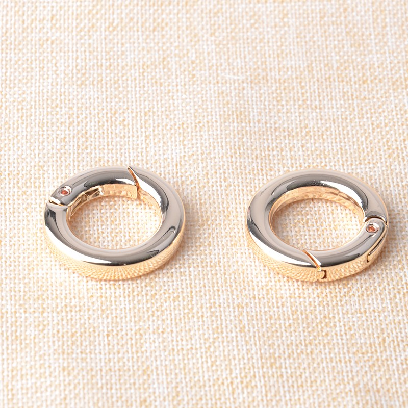 3/4 Inch (20mm Inner Dia. ) Gold Plated Spring Gate Spring O Ring 5mm Thickness High Quality Metal Rings 20pcs/lot