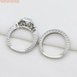 Image 5 - Newshe Genuine 925 Sterling Silver Halo Wedding Engagement Ring Set 1.2 Ct AAA Princess CZ Classic Jewelry For Women JR4970