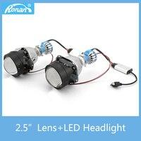 RONAN Car Styling Mini 2 5 Bi Xenon Projector Lens With H1 LED Headlight Retrofit DIY