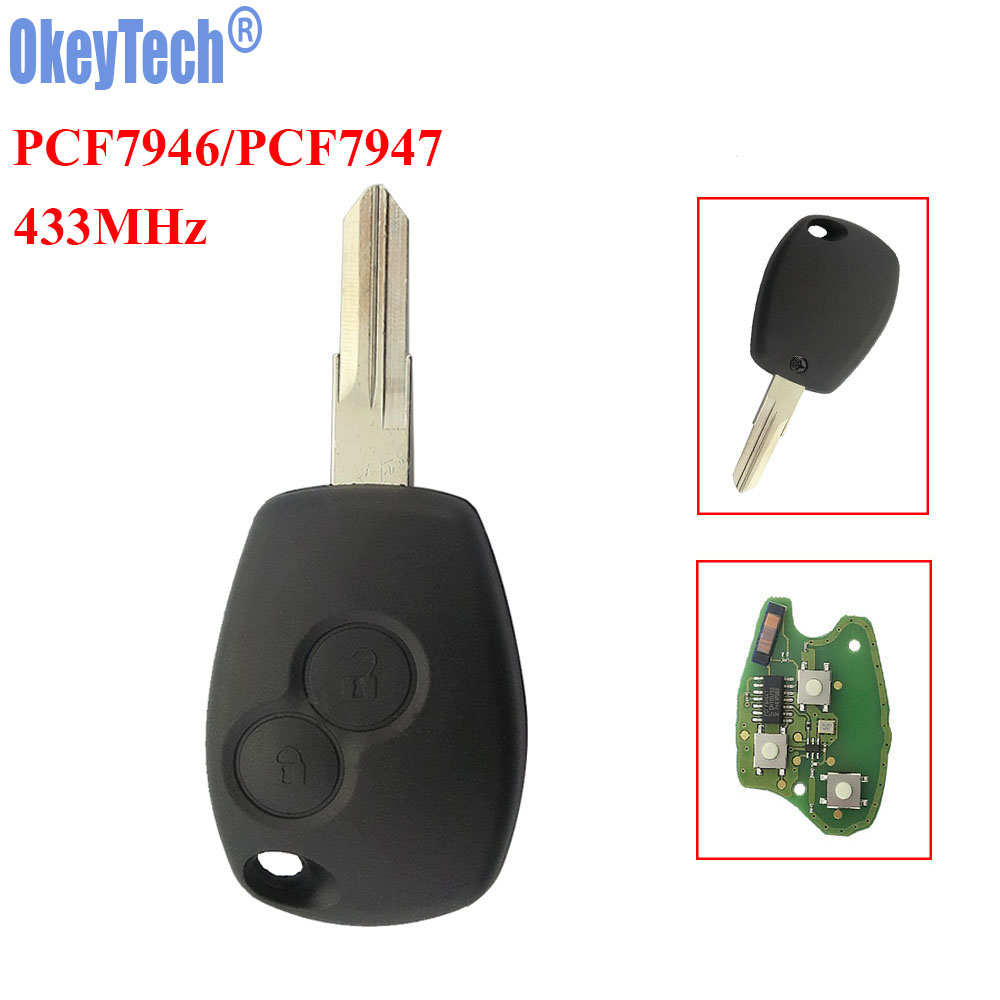OkeyTech Remote Key 433MHz ID46 PCF7946 PCF7947 Chip VAC102 Blade Fit For Renault Clio DACIA Logan Sandero 2 Buttons Remote Fob okeytech 433mhz id46 pcf7947 chip 3 button car remote key fob for renault kangoo ii clio iii auto replacement keyless alarm