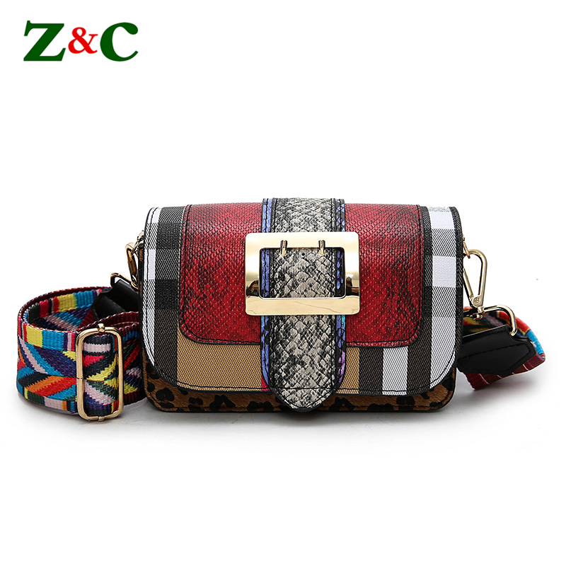 цена на Luxury Brand Women Bag Leather Handabgs Serpentine Pattern Clutches Famous Striped Plaid Designer Crossbody Bags Colorful Straps