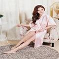 Новый Шелковый Кимоно Халат Халат Женщины Белый Шелк Невесты Халаты Сексуальная Темно-Синий Одежды Атласном платье С Длинным Дамы Халаты