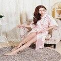New Silk Kimono Robe Roupão de Seda Branca Mulheres Robes Sexy Vestes Robe De Cetim Azul Marinho Da Dama de honra Longo Senhoras Robes