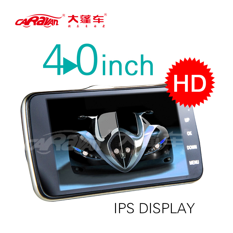 Caravan 4.0 IPS Night Vision DVR FHD 1080P Car Camera 170 Degree Wide Viewing Angle Video Recorder Dual Lens Registrator WDR
