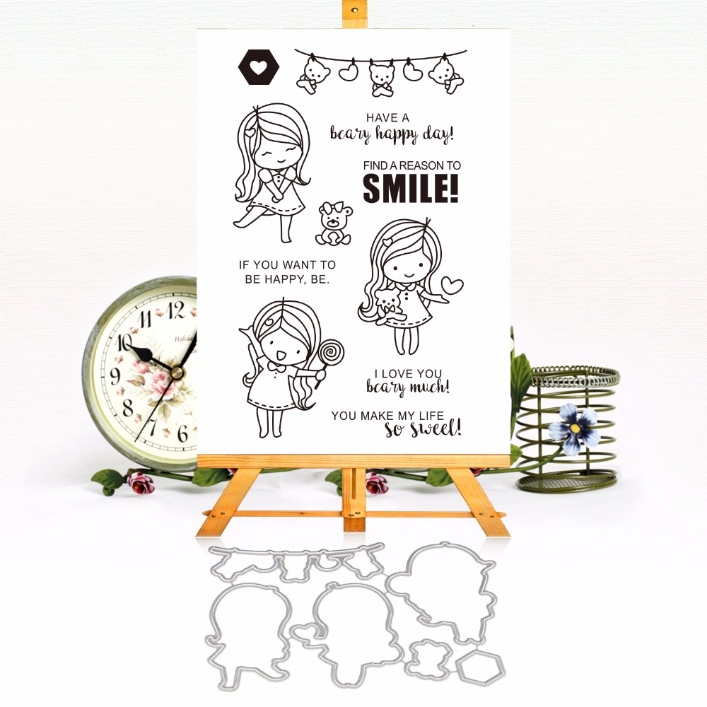 Happy Smile Girl Metal die Cutting Dies and Clear Stamps for DIY Scrapbooking Photo Album Decoretive Embossing Stencial