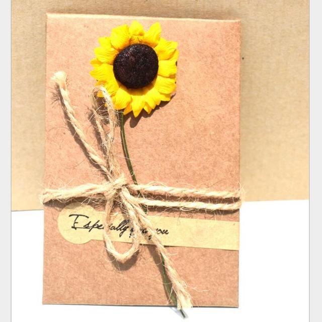 Kraft Paper Handmade Dried Flower Birthday Greeting Card Christmas