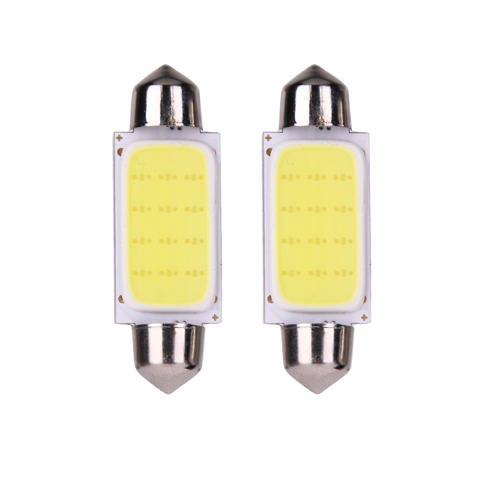 2Pcs Car-styling Reading Lamp Bulb 41mm COB SMD 12V Automotives LED License Plate/Tail Light for Auto Light-emitting Diode Light