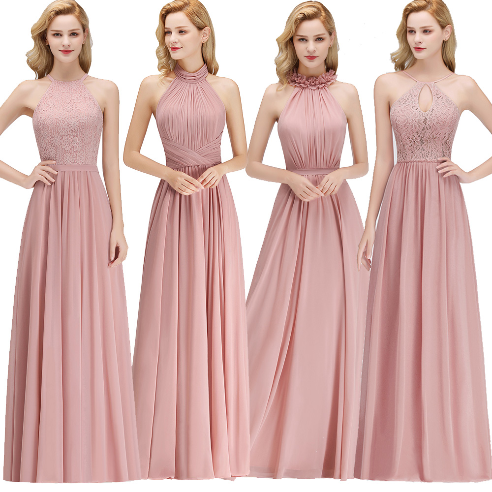 New Dusty Pink Halter Bridesmaid Dresses Chiffon Floor Length Country Beach Wedding Guest Party Gowns Cheap Lace Long Prom Dress