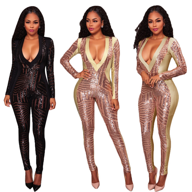 1a747079cc5 Winter Bodysuit Women Clothing Body Suit Leotard amazon model Sequins  Jumpsuit Overal Women cultivate Macacao Feminino Comprido