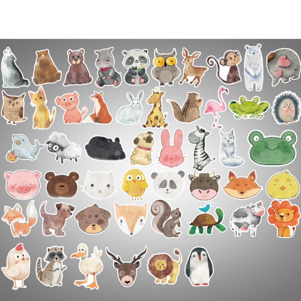 Aliauto 50pcs/pack Cartoon Animal Graffiti Car Sticker Laptop Luggage Skateboard Motorcycle Snowboard Phone Toy Helmet Decal Automobiles & Motorcycles Car Stickers