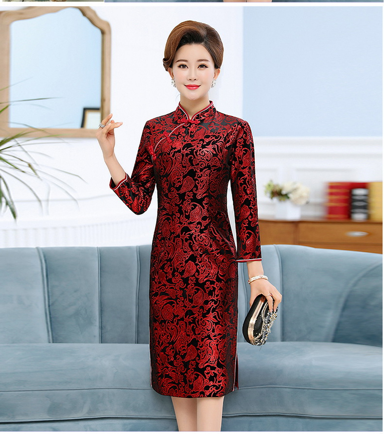 Oriental Style Women Vintage Dresses Red Black Red Stamped Qipao Dress Woman Mandarin Collar Robe Femme Side Slit Slim Fit Dress Elegant Dresses (7)