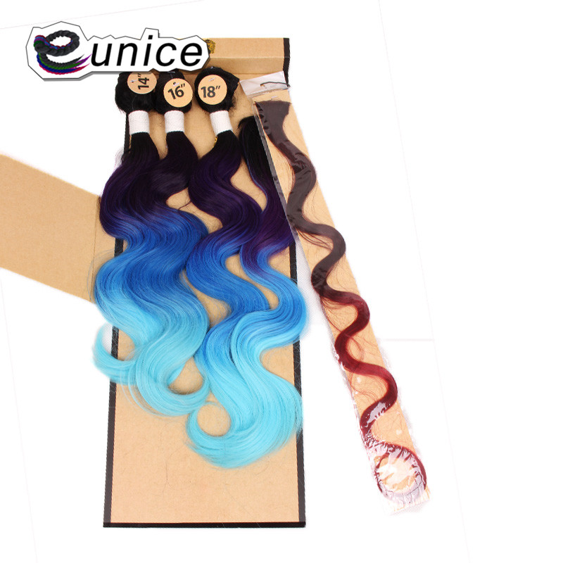 Synthetic Hair Extensions With One Closure Natural Body Wave Weft Hair Weaving Ombre Hair Weave  (69)