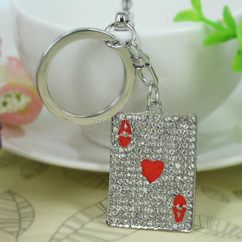 New Fashion Jewelry Handbag Women Red Heart Poker A Car Keyring Rhinestone Crystal Charm Pendant Key Bag Chain Christmas Gift