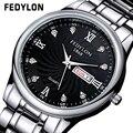 Amantes da marca de Luxo Calendário Completo Relógios À Prova D' Água Relojes Homens de Aço Inoxidável Assista Mulher Casal relógio de Pulso de Quartzo 0250