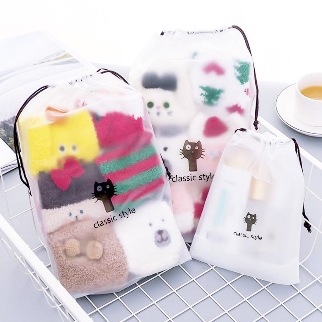 Transparent Travel Suitcase Shoes Underwear Cosmetic Storage Bag Cartoon Organizer Clothes Packing Drawstring Bag 2 Styles