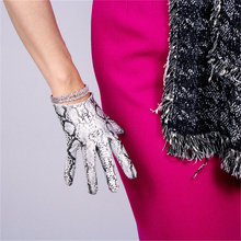 Women Fashion  Gloves 16cm Patent Leather Ultra Short Simulation PU Bright Skin Python Pattern 3-TB80