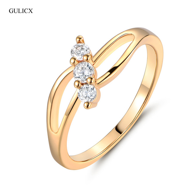 GULICX Vintage Rings for Women Gold-color Finger Ring Round White Crystal Cubic