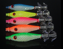 Fishing takcle 5pcs 7cm squid jigs with 4# hook fishing lures soft lure 5 colors