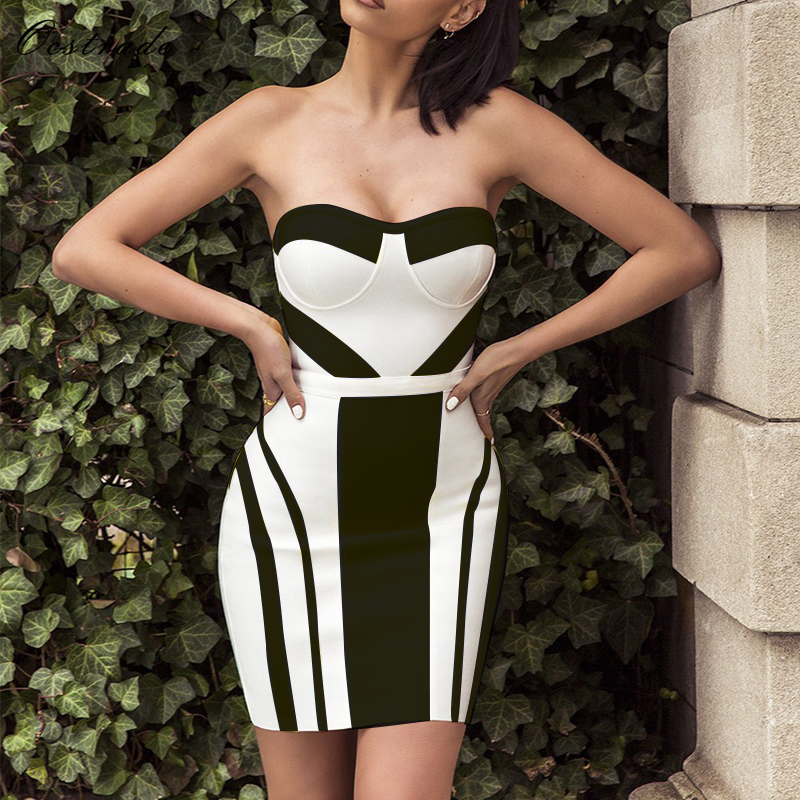 Ocstrade Summer Dress 2019 Party New Arival Women Sexy Black and White Strapless Mini Bandage Dress