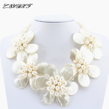 High Quality Freshwater White Pearl Necklace Holiday Party Necklace White Shell Flower Necklace women Pearl Jewelry L1004