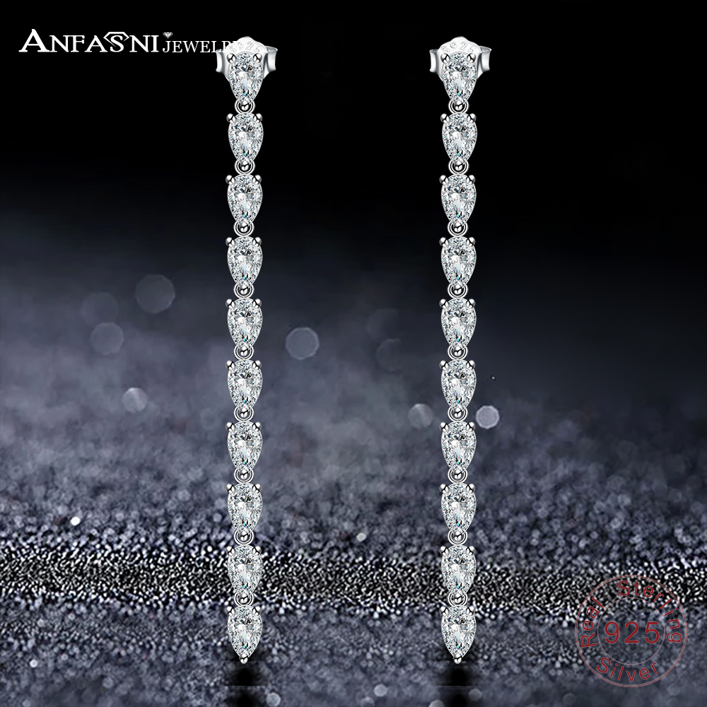 ANFASNI New 925 Sterling Silver Earings Fashion Jewelry Drop Zircon Long Earrings For Women Trendy Engagement Jewelry CGSER0099 wholesale new fashion trendy 925 sterling silver zircon natural gemstone crystal green diopside pendant drop earrings for women