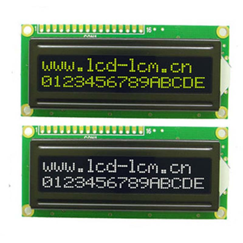 5V 1602A Dot Matrix Screen Module Yellow LCD Display Module W/ Black Backlight Parallel Port LCD1602