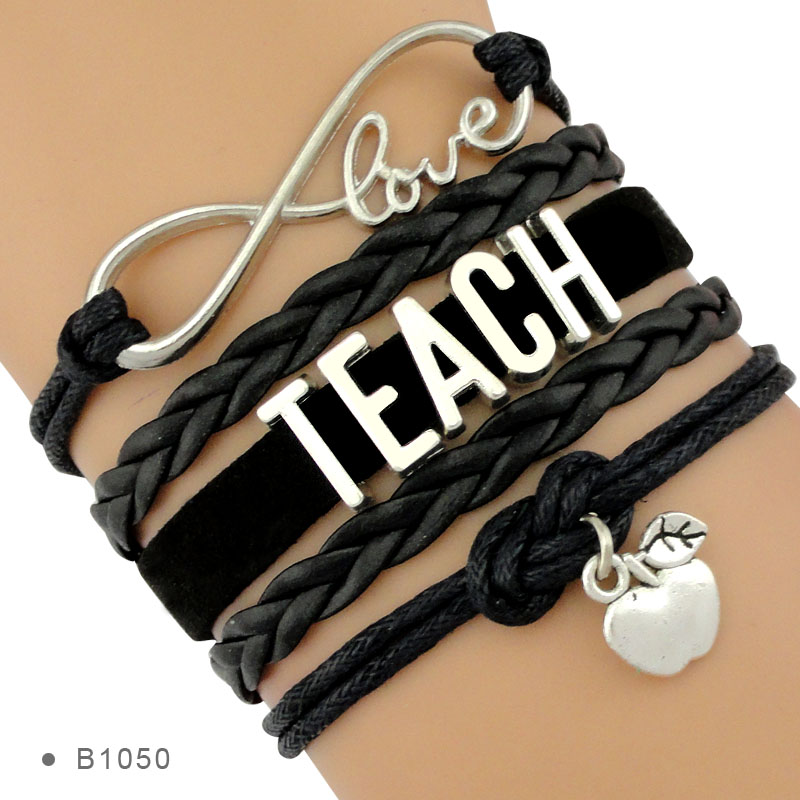 Manufacturer Infinity Love to Teach Gift for Teacher Assistant Apple Charm Jewelry Leather Bracelets for Women