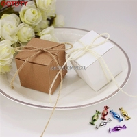 50 Pcs Candy Box Kraft Paper Square Shape Gift Candy Box Decor Wedding Party
