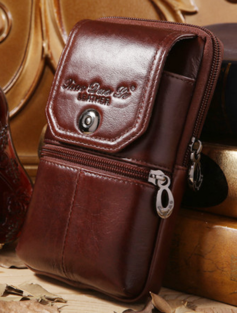 2018 New Men Genuine Leather Vintage Travel Cell/Mobile Phone Cover Case Hip Belt Bum Purse Fanny Pack Waist Bag Pouch цена