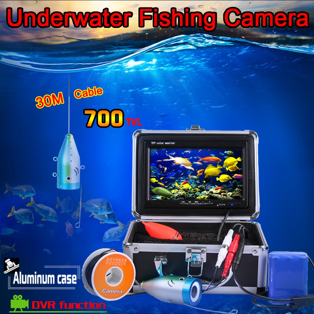 1 set 30M Cable Underwater Camera system with DVR Function 7inch color monitor HD 700TVL