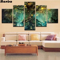 5D DIY Full Square Diamond Painting Abstract Tree Landscape Multi picture Combination Embroidery 5PCS Cross Stitch Mosaic Decor