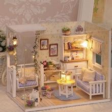 Nuevos Наборы de bricolaje casa de Muñecas de Madera из Muebles RU miniatura con светодиодный+ Muebles+ Muñeca чехол habitación H13