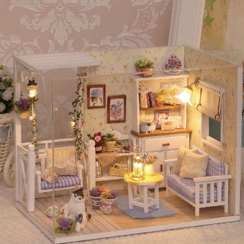Nuevos Kits de BRICOLAJE casa de Muñecas de Madera Muebles en miniatura con LED + Muebles + Muñeca cubierta habitación H13
