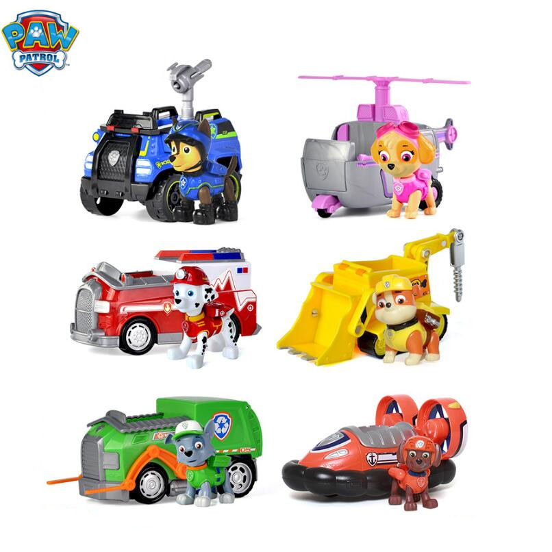 Genuine Paw Patrol Dog Puppy Patrol Car Patrulla Canina Action Figures Puppy Patrol dog Toy Kids Children Gifts free shipping lps pet shop toys rare black little cat blue eyes animal models patrulla canina action figures kids toys gift cat free shipping