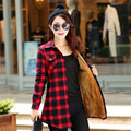 M-XXL Winter Autumn Women Casual Plaid Thick Soft Shirt With Velvet Inside Female Long Sleeve Cotton Long Warm Blouse Tops