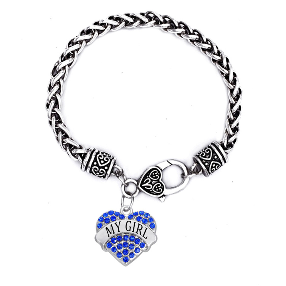 Yiwu Factory Direct Selling Crystal In Heart My Girl Charm Bracelet Fashion Charms  Bracelet For Girl Or Teens