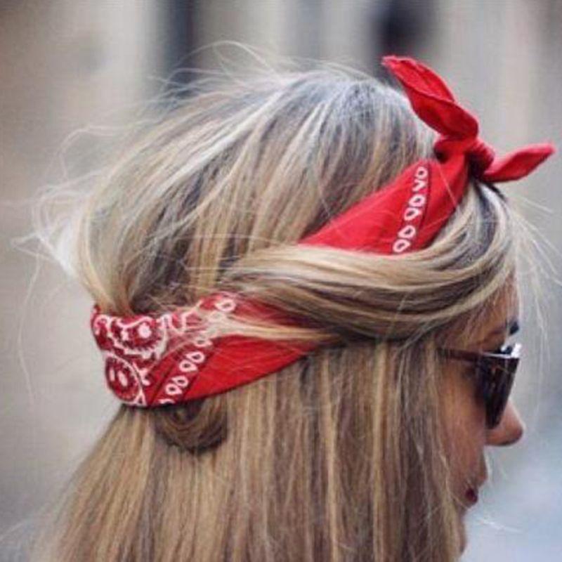 58x58cm Korean Women Cotton Square Bandana Ethnic Geometric Paisley Floral Print Headband Vintage Neck Tie Decorative Headwrap in Women 39 s Scarves from Apparel Accessories