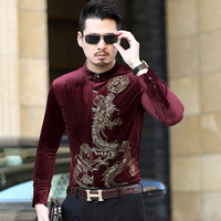 KUYOMENS Stand Collar Mens Dress Shirt Long Sleeve Male Business Casual Printed Fashion New Formal Shirts