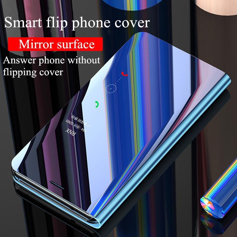 Smart touch Flip Couverture Pour Huawei P20 Lite Pro Cas UV capa De Luxe Doux PU Shell Pour Nova 3E 3i miroir surface Téléphone cas coque