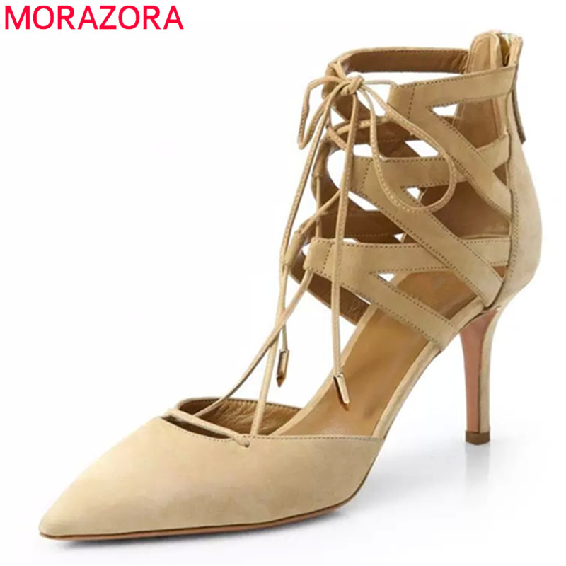 MORAZORA 2017 hot sale new arrive women pumps fashion kid suede lace up zipper ladies shoes pointed toe high heels summer shoes kbstyle 2017 new spring shoes for women brand pointed toe womens flats fashion young ladies casual shoes hot sale wholesale