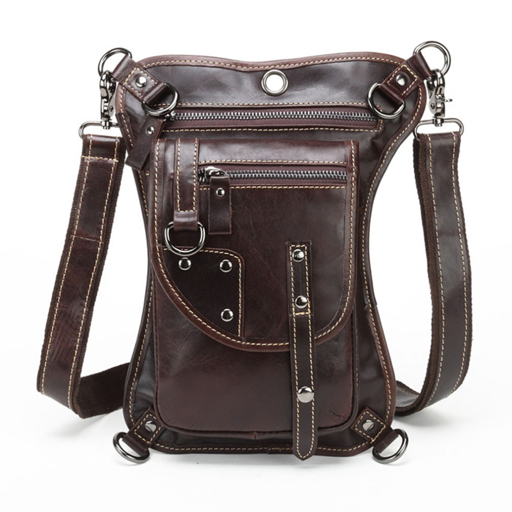 все цены на High Quality Men's Cowhide Oil Wax Genuine Leather Waist Thigh Drop Leg Bag Messenger Cross Body Shoulder Belt Hip Bum Pack онлайн