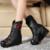 Nova Chegada 2017 Mulheres Da Moda Martin Botas Botas de Inverno Botas De Couro Genuíno Do Vintage Feitos À Mão Bordado Flor Cunhas Sapatos Mulher
