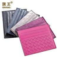 Woven Mini Plaid Credit Card Holder Sheepskin Genuine Leather Business Card Bag ID Holders Ladies 5colors