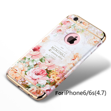 New Fashion Rear Cover For Apple iPhone 6 6s 3D Pattern Painted Luxury Plated Mobile Phone Protective Back Case + Free Gift