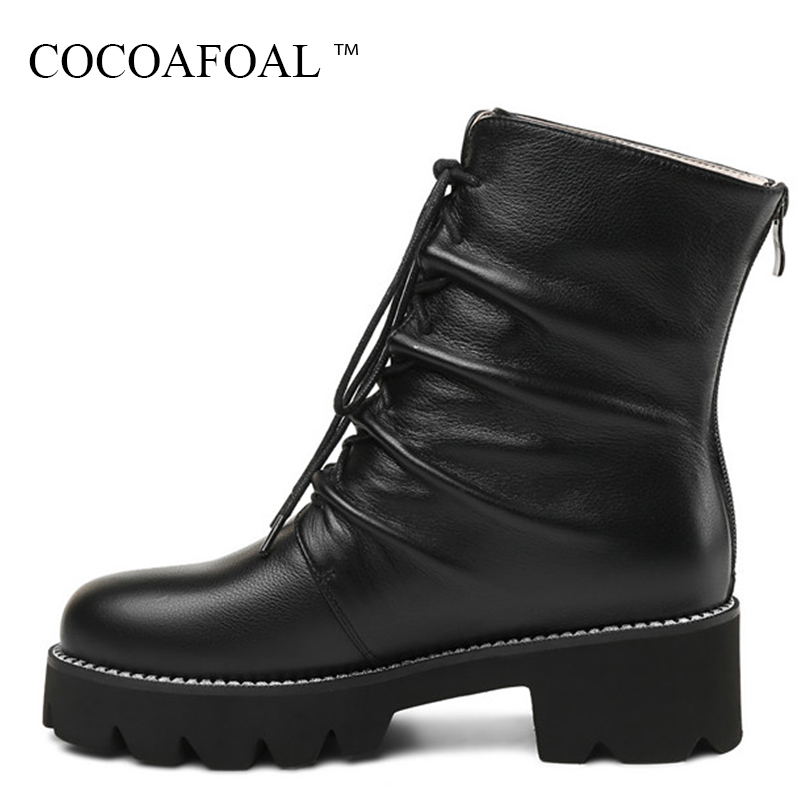 цена на COCOAFOAL Fashion Black High Heeled Shoes Woman Winter Flat Lace Up Chelsea Boots Plus Size 33 43 Genuine Leather Martin Boots