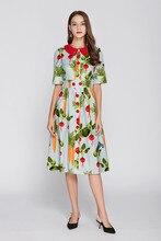 Fashion print peter pan collar dress 2018 summer runway slim fit elegant dress D257 peter pan collar smock dress